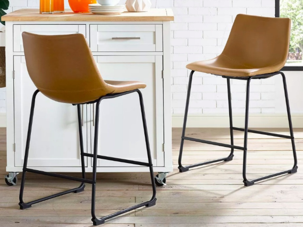 Faux Leather Counter Stools in the kitchen