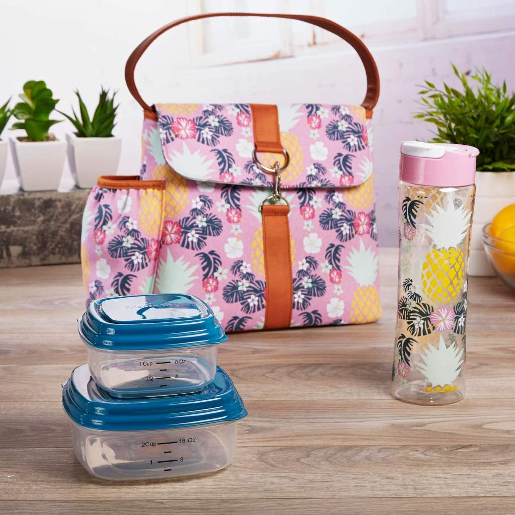 Fayetteville Lunch Tote with accessories on table