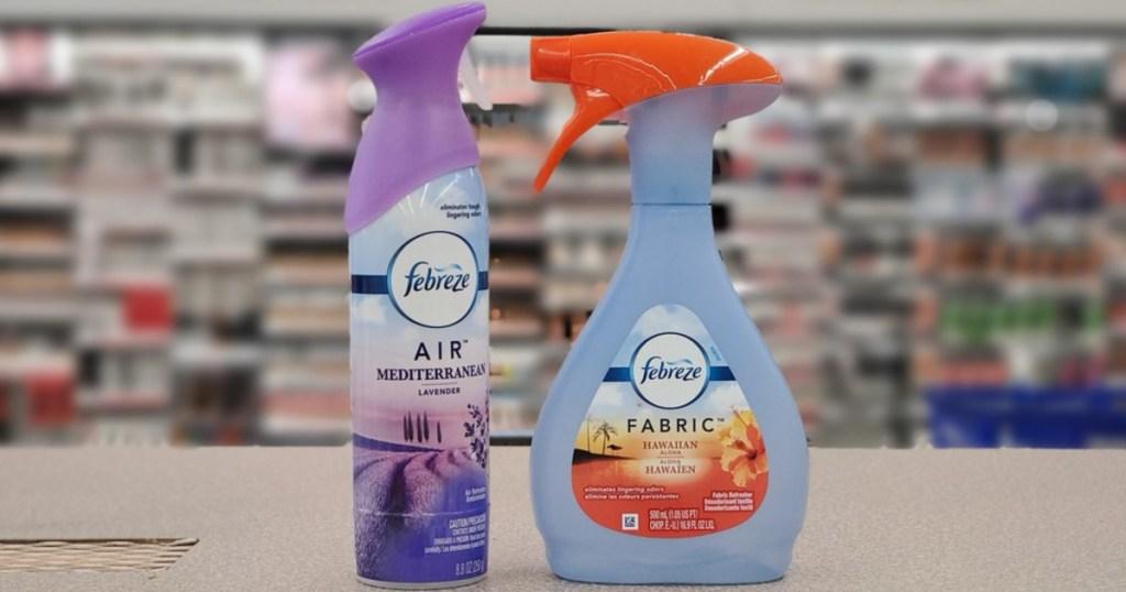 bottle of febreze air freshener and febreze fabric refresher