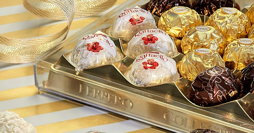 Ferrero Rocher chocolates in a box on a gold background