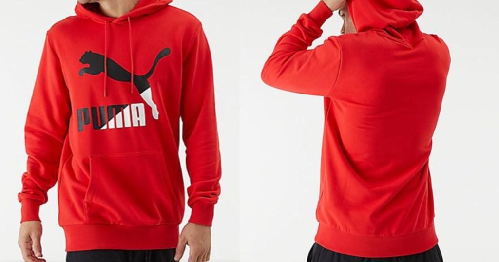 Man wearing red Puma Classics Hoodie