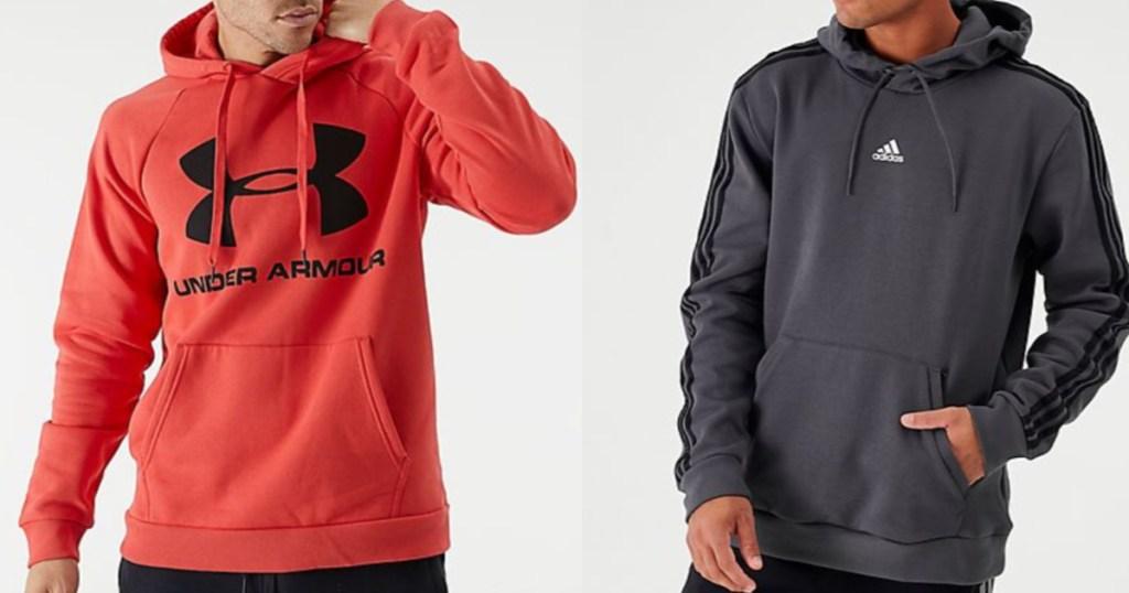 Men wearing Under Armour Hoodie and Adidas Hoodie