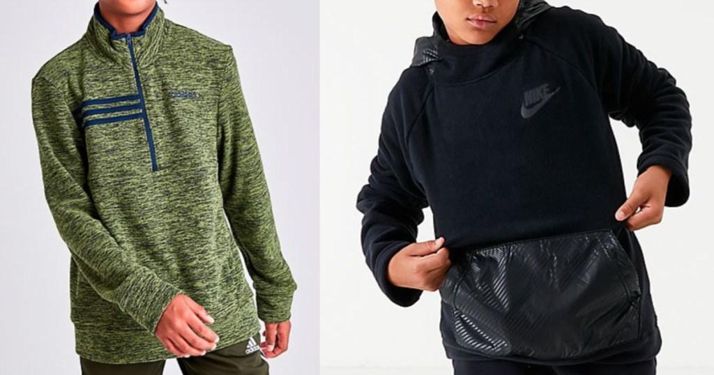 Boys wearing adidas 1/2 zip and Nike Hoodie