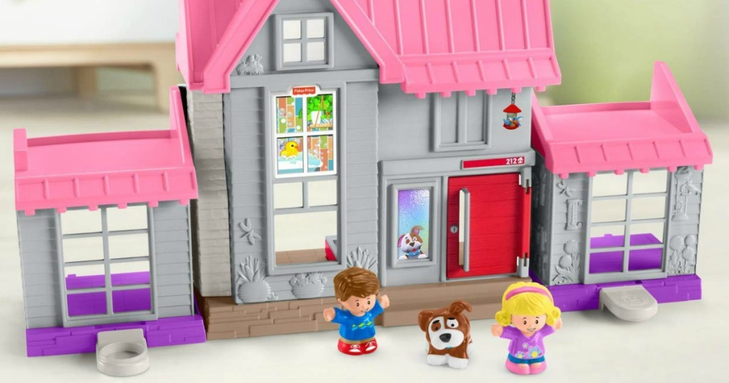 Large house themed playset with small character pieces
