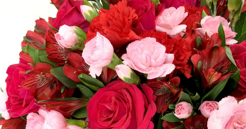 bouquet with roses and carnations