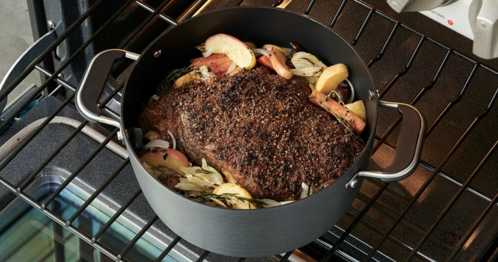 Large nonstick pan in oven with roast