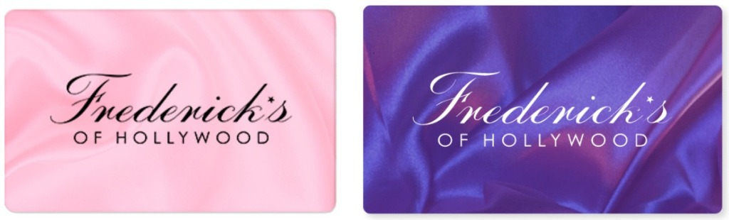 Two styles of Frederick's of Hollywood gift cards - pink and purple
