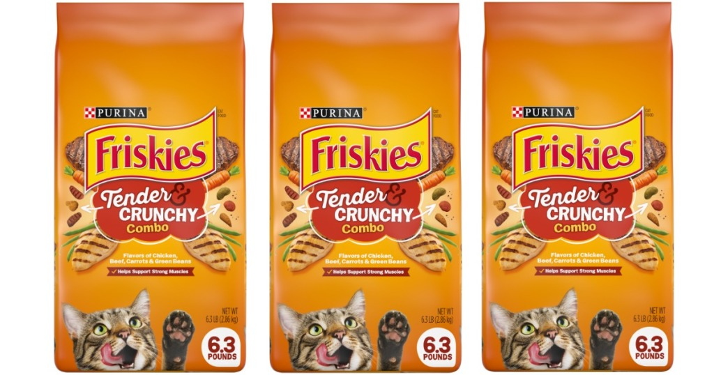 Three packages of Friskies Tender Crunchy Cat Food in a row