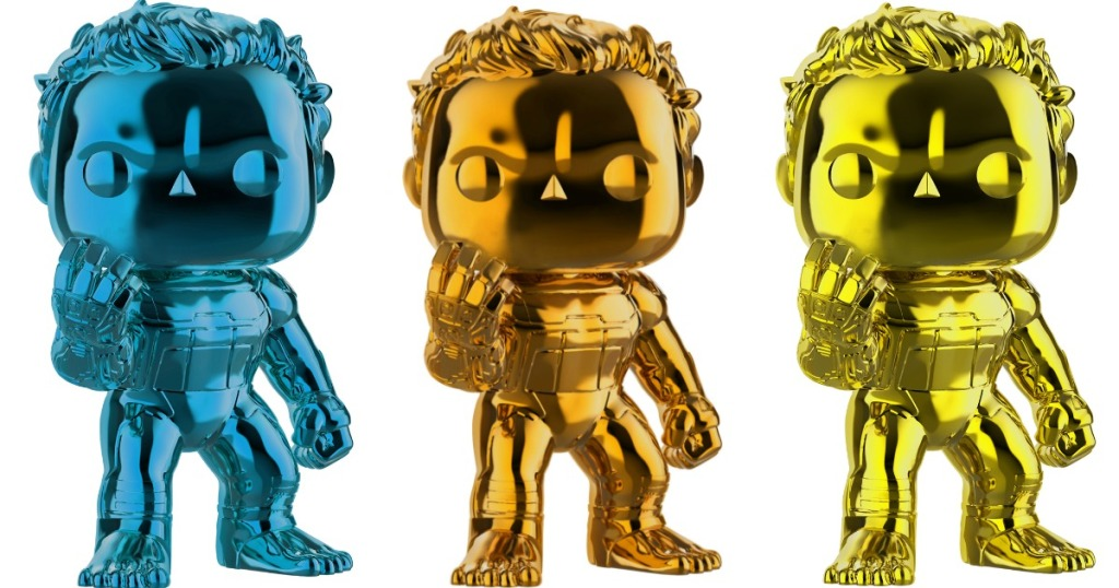 blue, orange and yellow Funko Chrome Hulk
