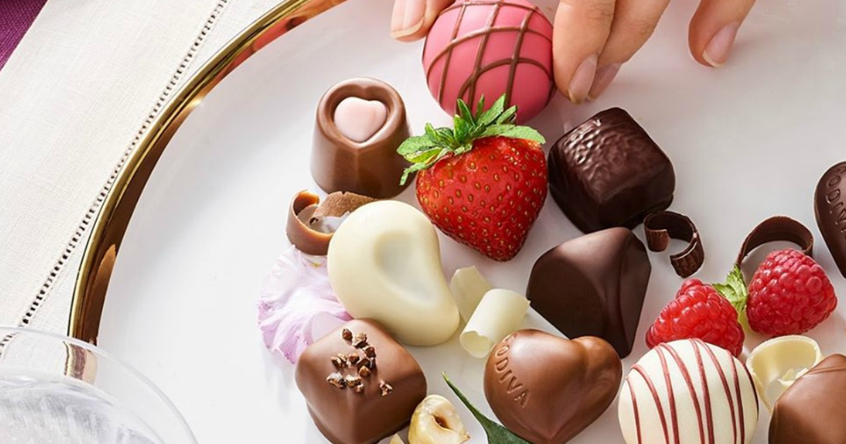 GODIVA chocolates on a plate
