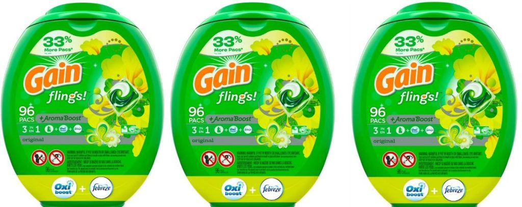 three containers of Gain Flings