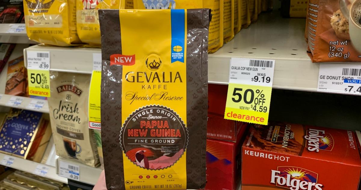 Gevalia coffee in front of shelf