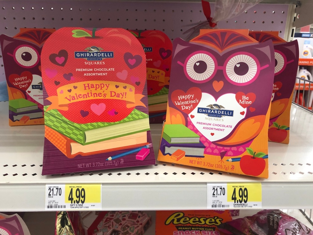 boxes of Ghirardelli Valentines treats on shelf at Target