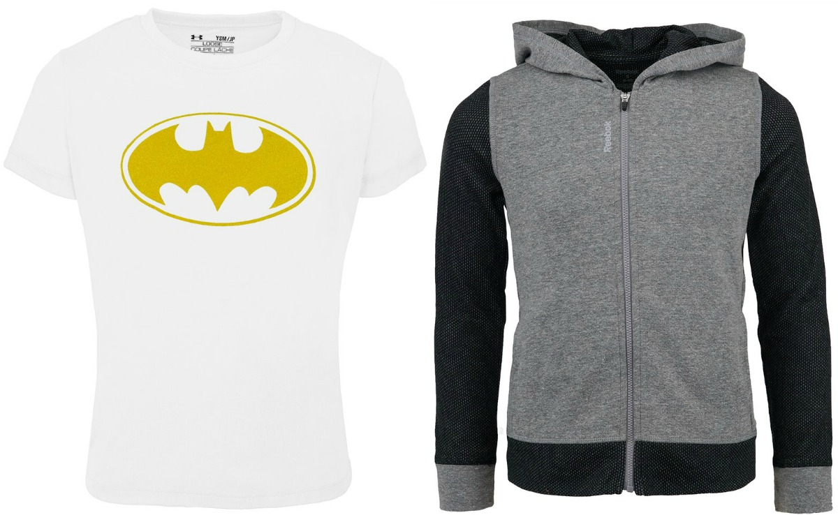 Batman tee shirt and blue and gray fleece hoodie