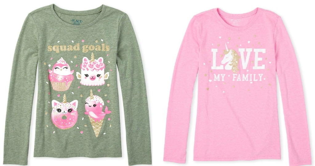 Two long sleeve graphic tees for girls