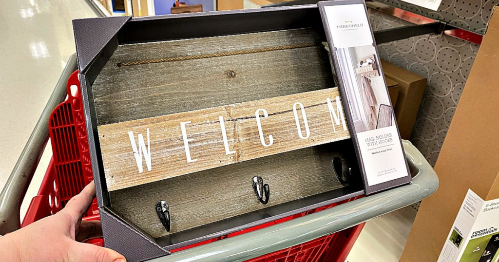 Gray Wood Welcome Mail Station in target shopping cart