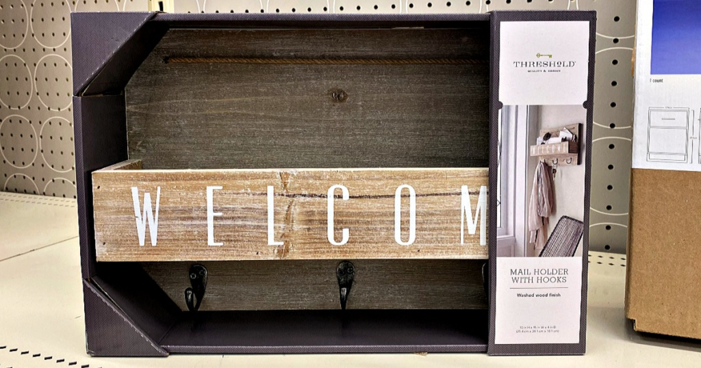 Gray Wood Welcome Mail Station on shelf of store