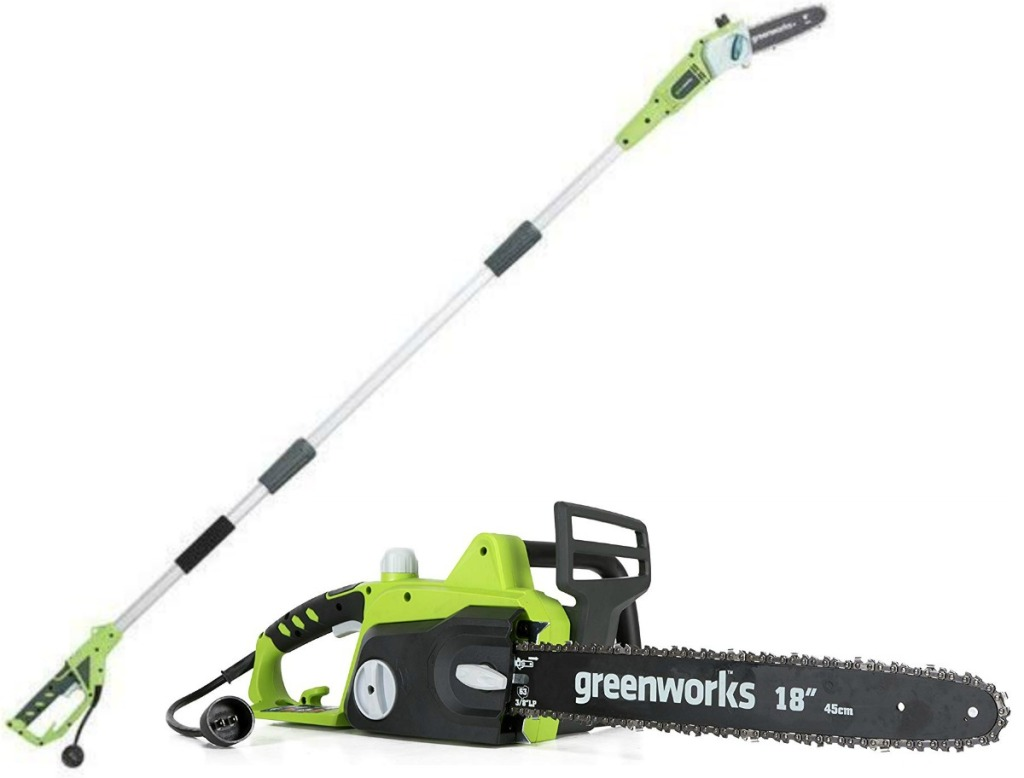 Two power tools in green for yard work