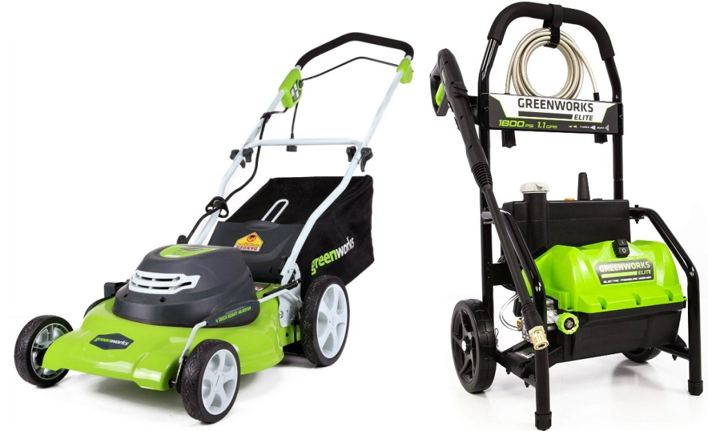 Image of a green lawnmower with a matching pressure washer