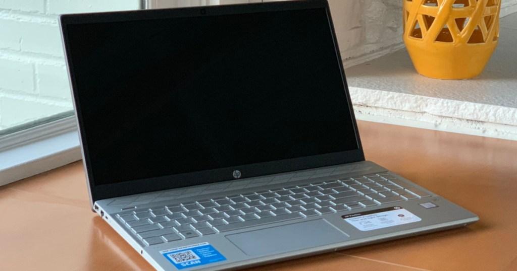 HP Laptop sitting on kitchen counter