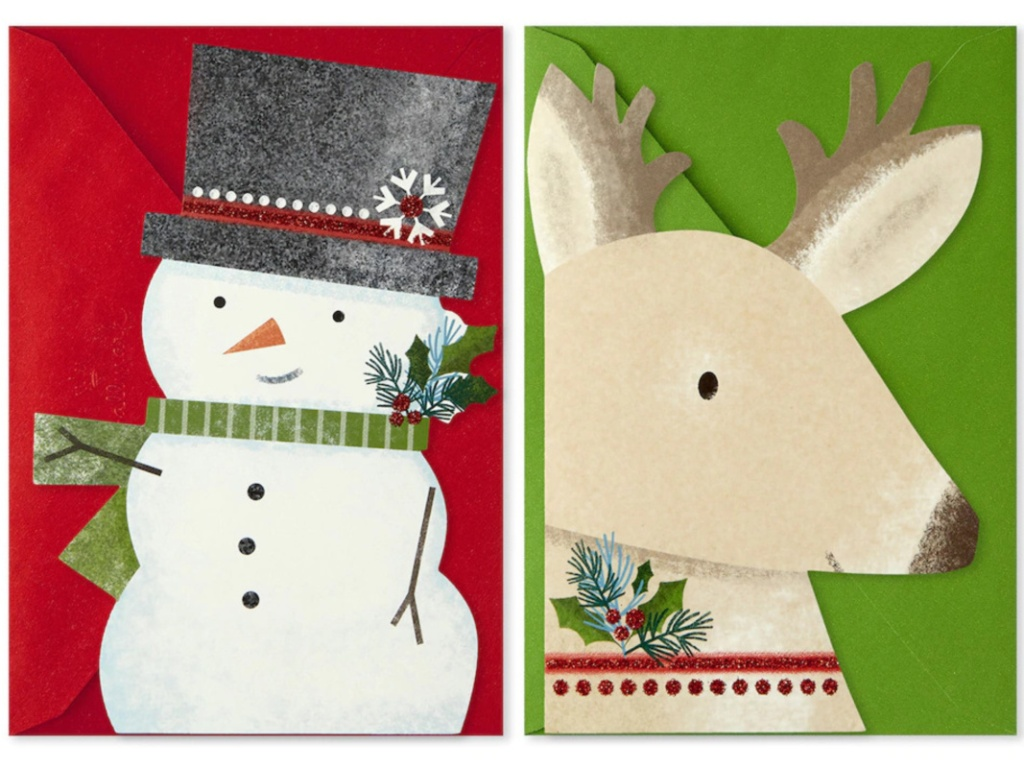 Snowman and reindeer Christmas cards