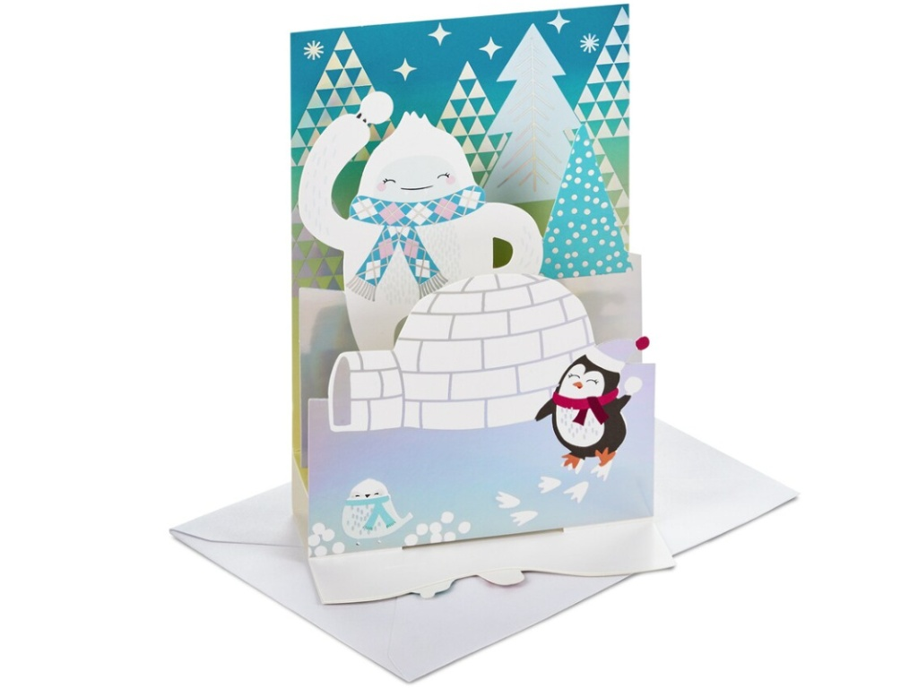 Snowball fight Christmas pop up card