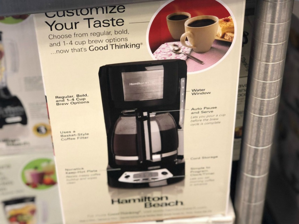Hamilton Beach Coffee Maker in package on display in-store