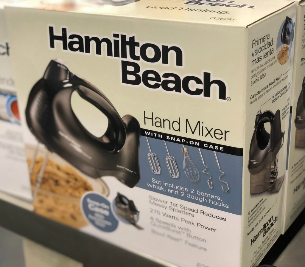 Package with a black hand mixer in package