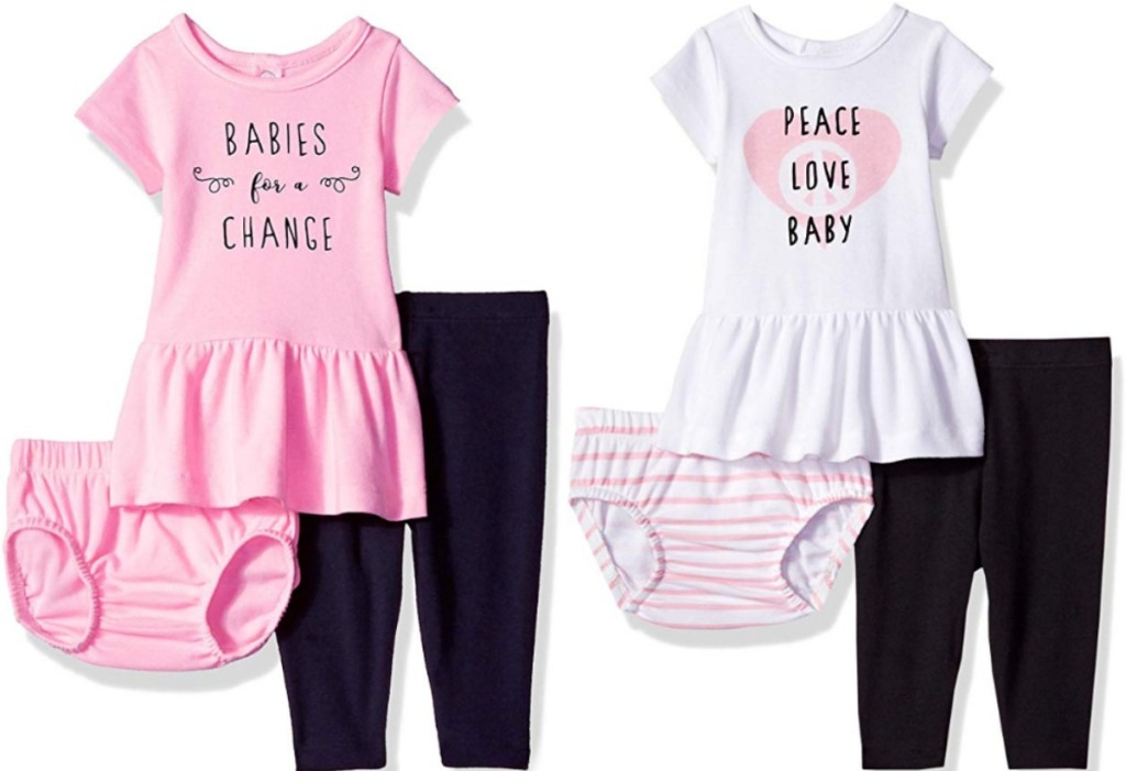 Two baby girl matching outfits with phrases on the front