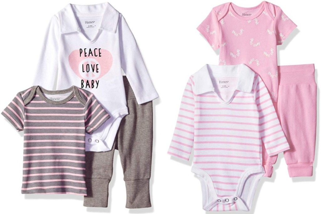 Two sets of outfits for baby - one neutral and one pink