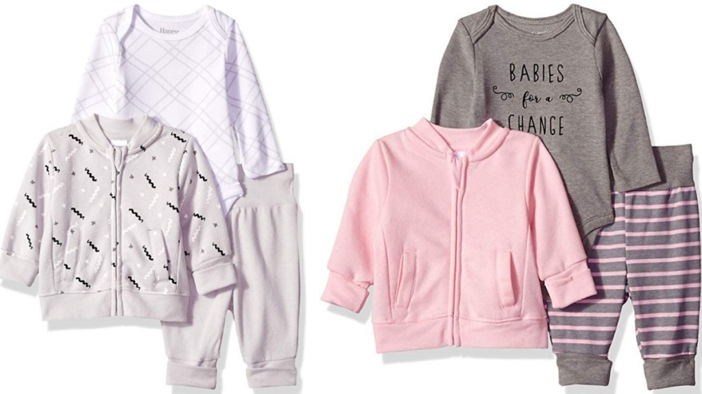 Two outfit sets with zip up sweatshirts for babies - one neutral and one pink