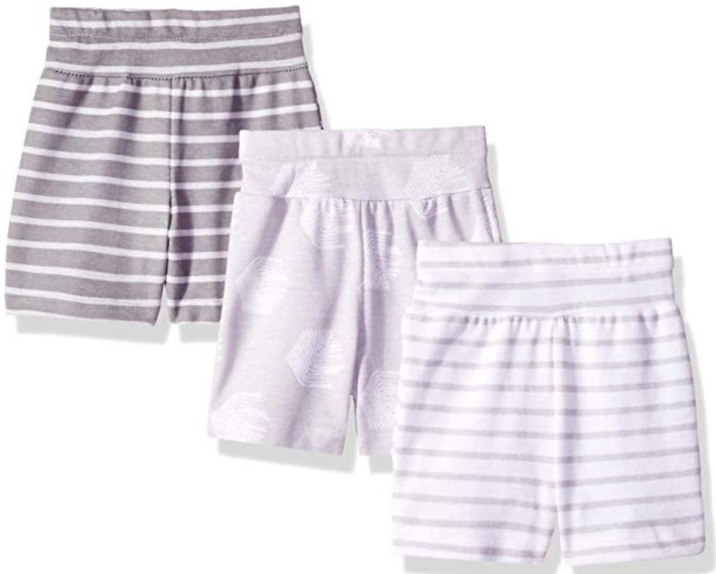 Three stretchable shorts in neutral colors