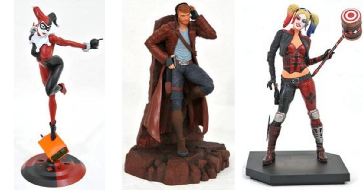 collectible figurines featuring Harley Quinn and Star-Lord