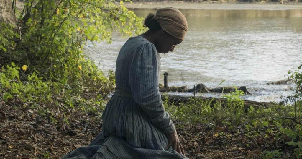 Harriet Tubman kneeling in front of pond movie shot