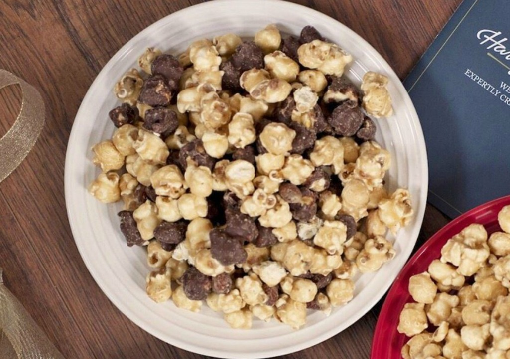Large bowl of Harry & David Moose Munch Popcorn