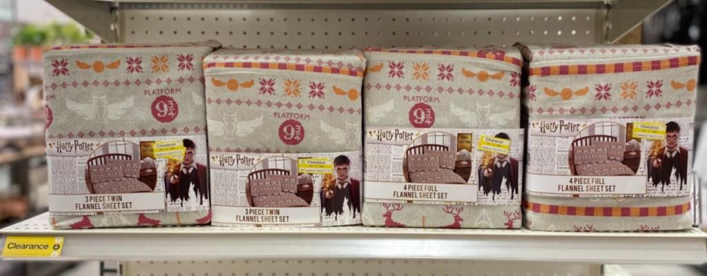 Harry Potter Flannel Sheet Set on shelf at Target