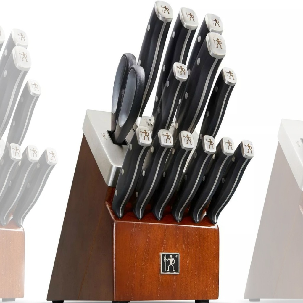 Large knife block with matching knife set inside