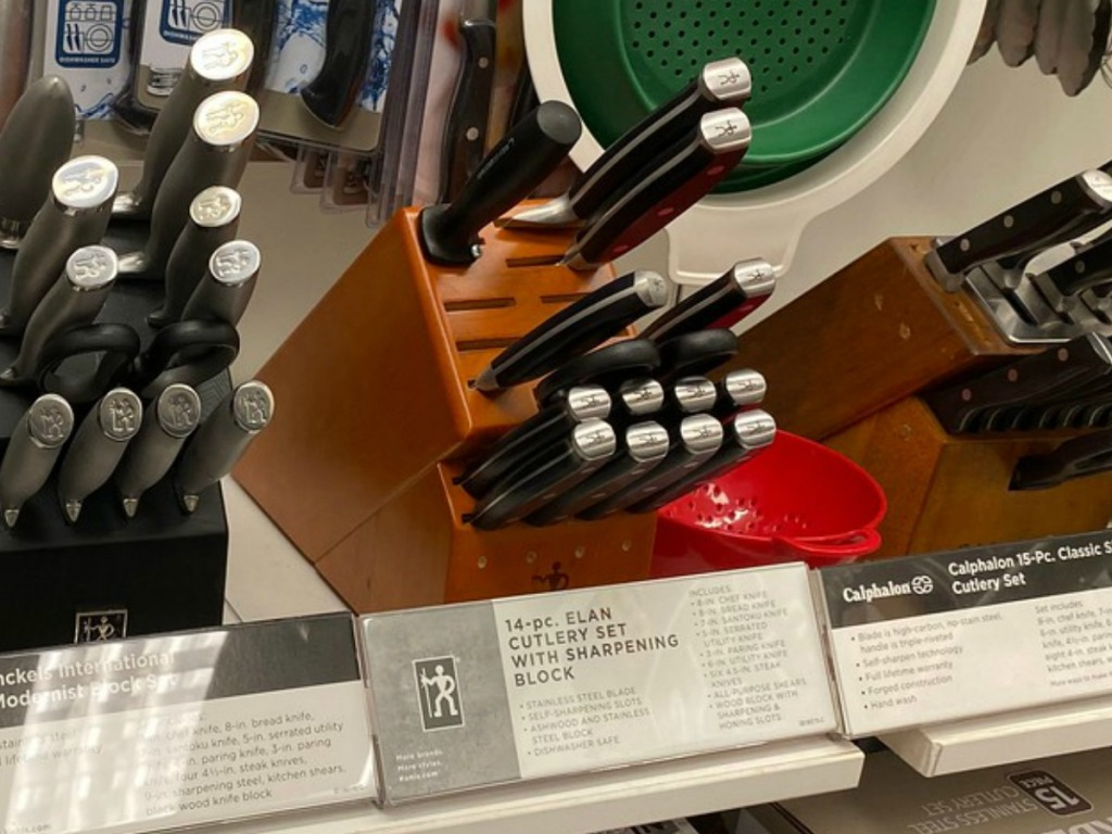 Large self-sharpening knife set with knife block on display in-store