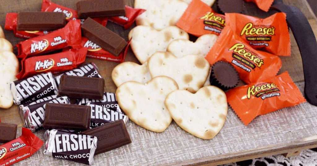 Hershey's, Kit Kat, Reese's candy with heart shaped crackers
