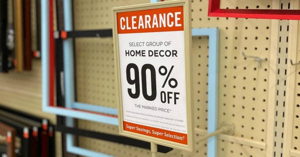 Hobby Lobby 90% off Home Clearance Sign