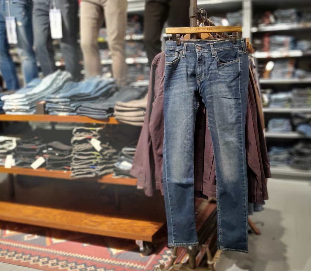 Hollister jeans on hanger in the store