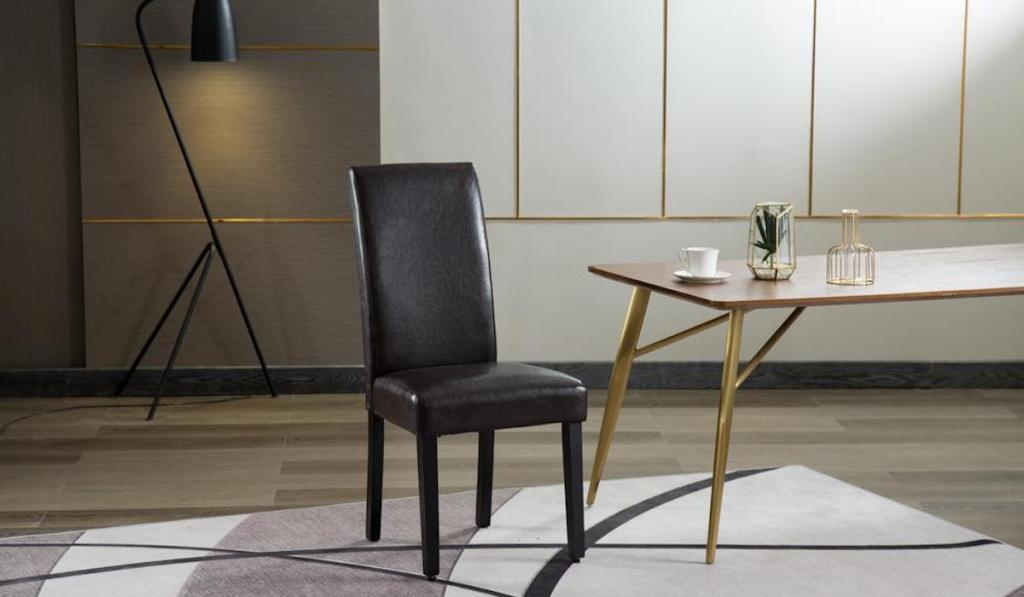 Home Beyond Upholstery Contemporary Dining Accent Chair in Savona Brown in dining room with table and rug