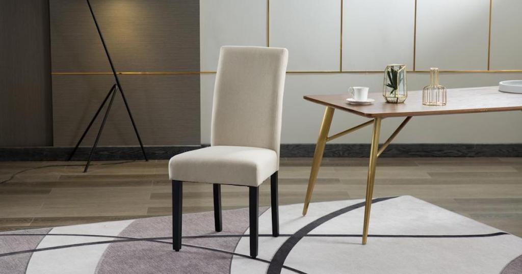 Home Beyond Upholstery Contemporary Dining Accent Chair in Savona Tanin dining room with rug
