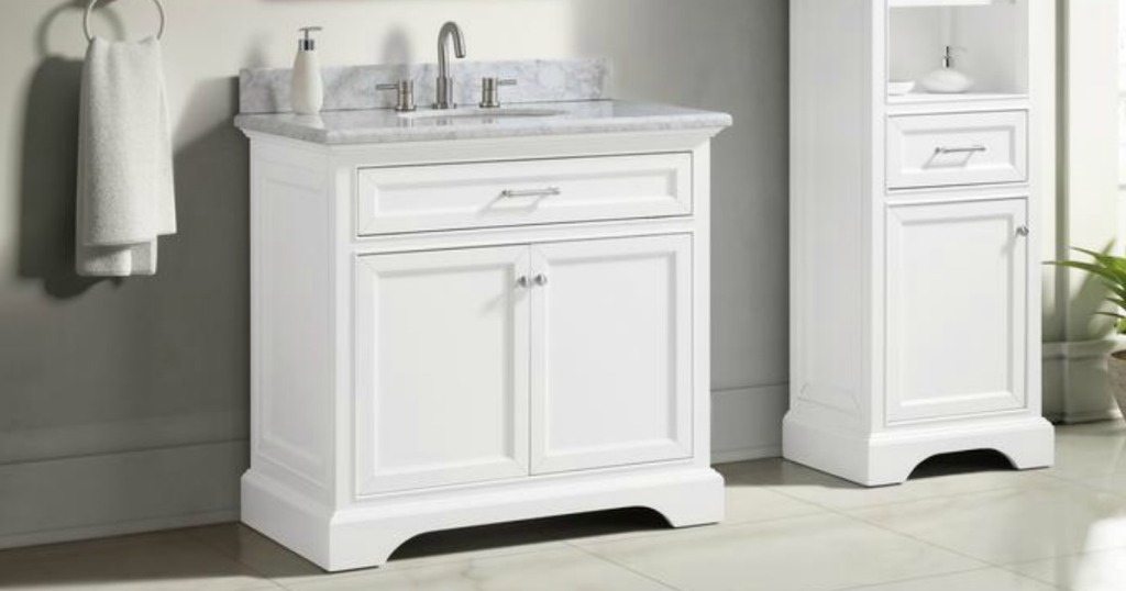 Large white bathroom vanity with marbled counter