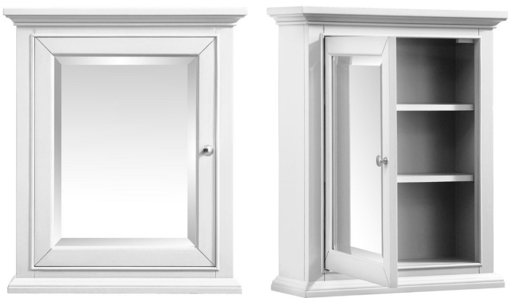 A white bathroom cabinet with mirror and shelving - open and closed view