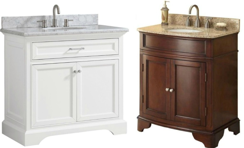 Two styles of bathroom vanities - one in brown and one in white, both with marbled tops