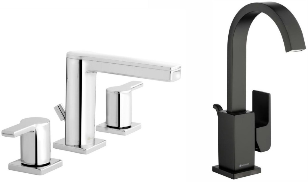 Two styles of faucets from Home Depot - one black, one chrome