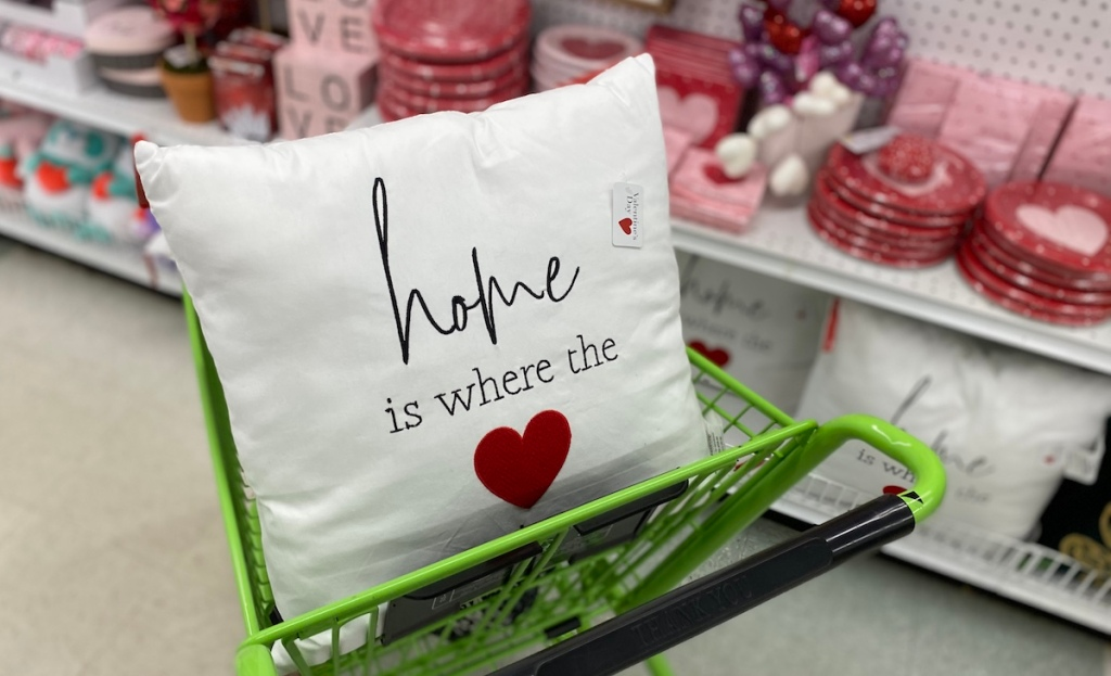 Home is where the heart is pillow in cart at JOANN