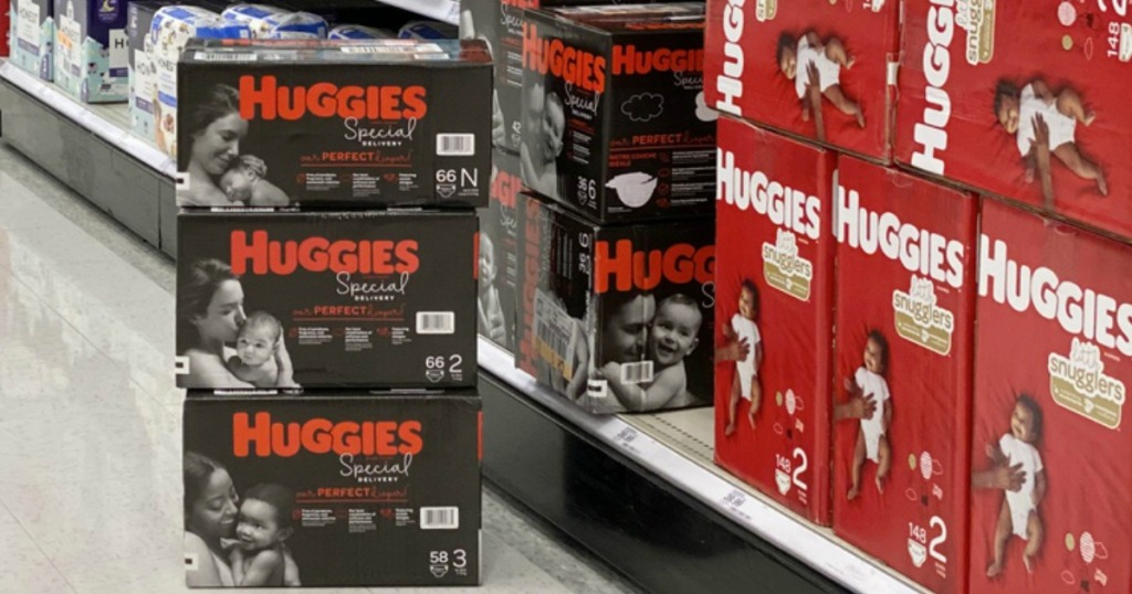 stack of Huggies Special Delivery Diapers