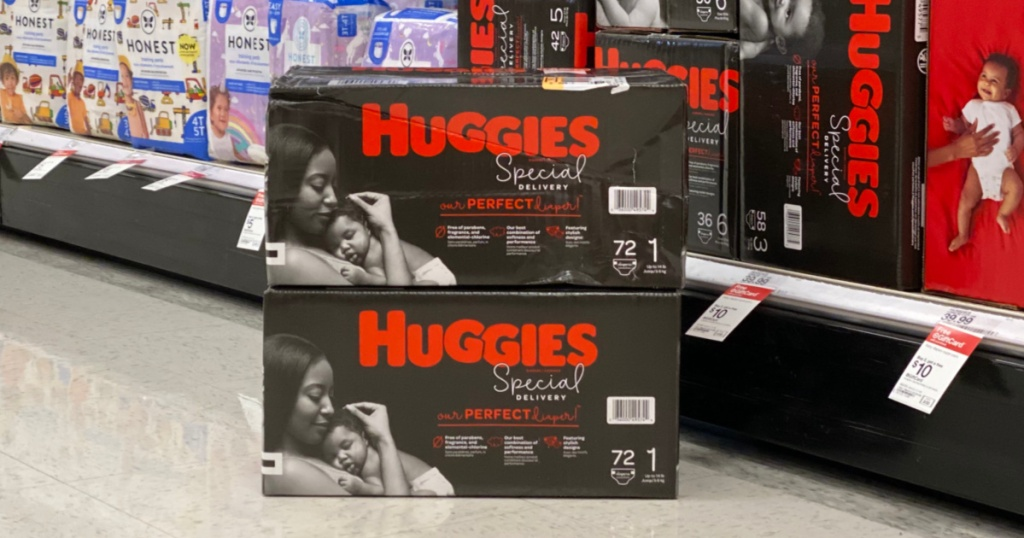 Two boxes Huggies Special Delivery Diapers on store floor